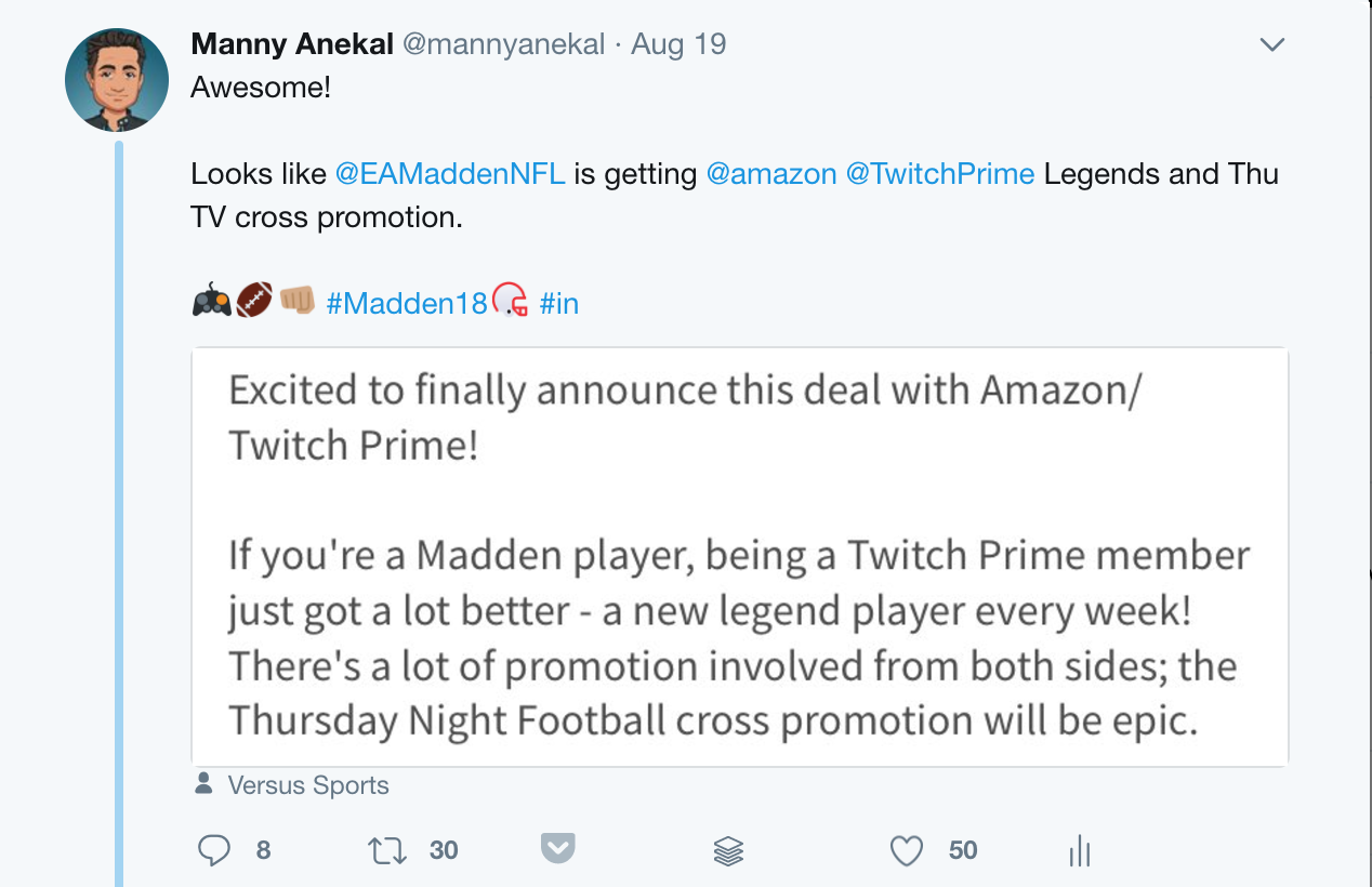 EA Madden NFL 18 and Twitch Prime Integration (Photo: LinkedIn)