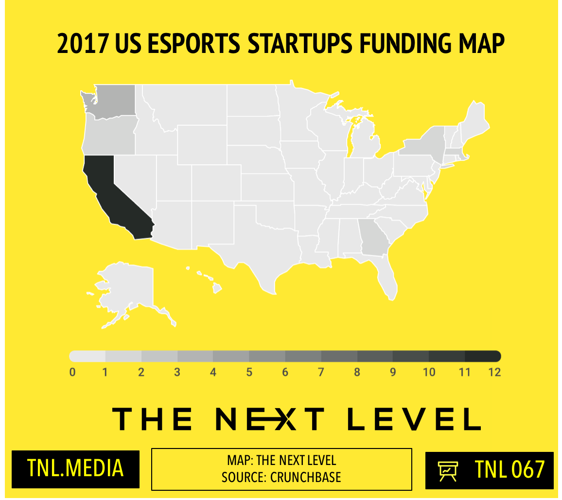 2017 US Esports Funding Hits ~$200M (Map: The Next Level)
