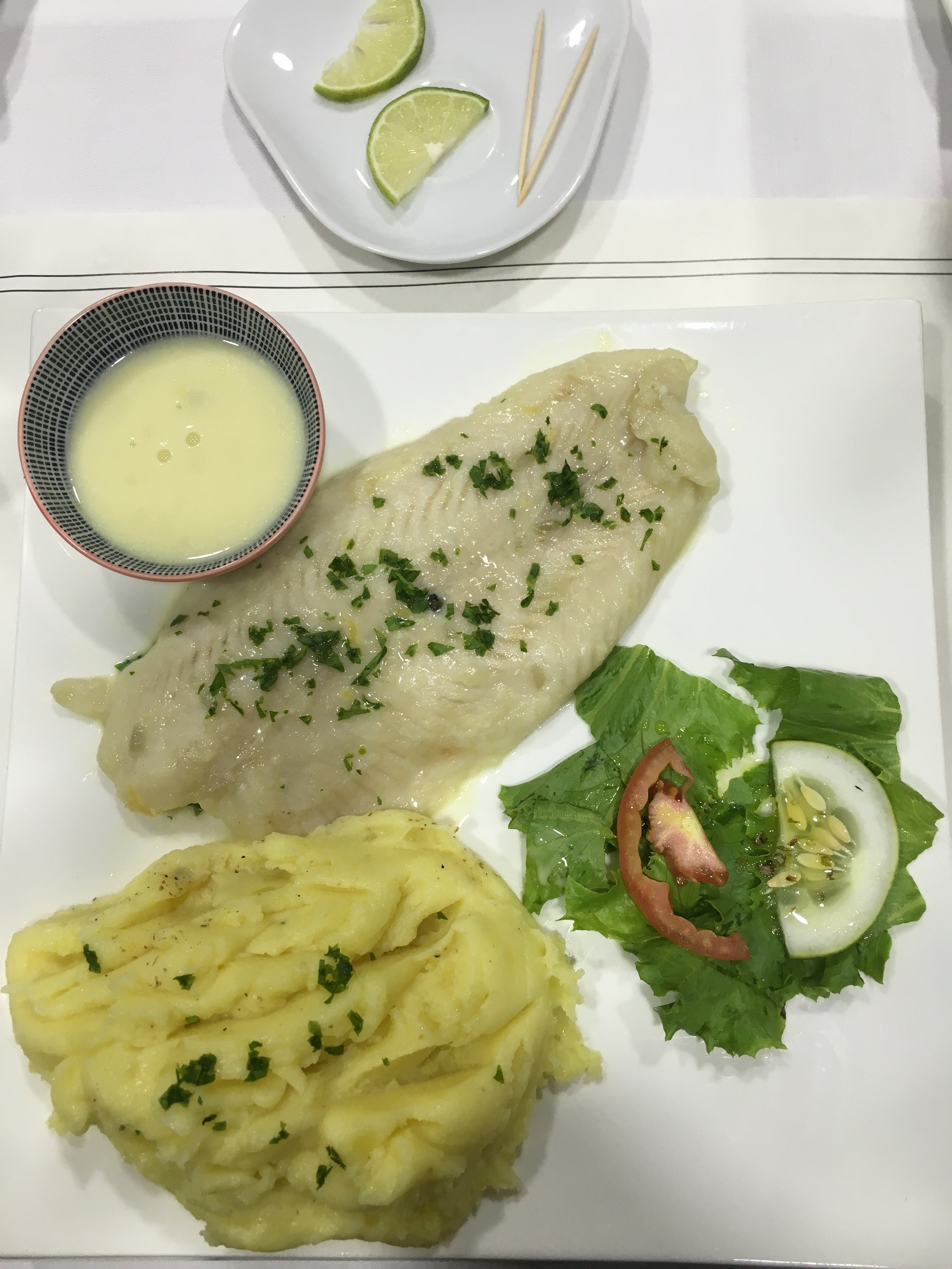 poached fish and mash