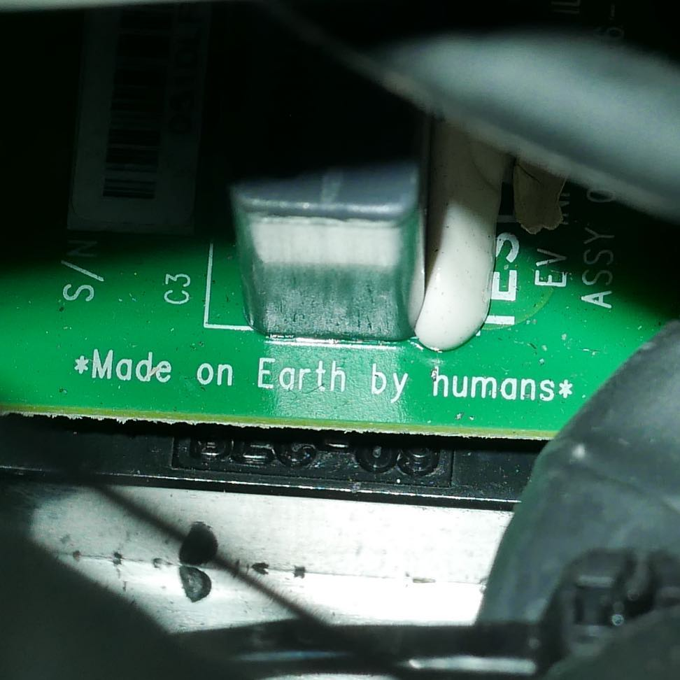 Made on Earth by humans.