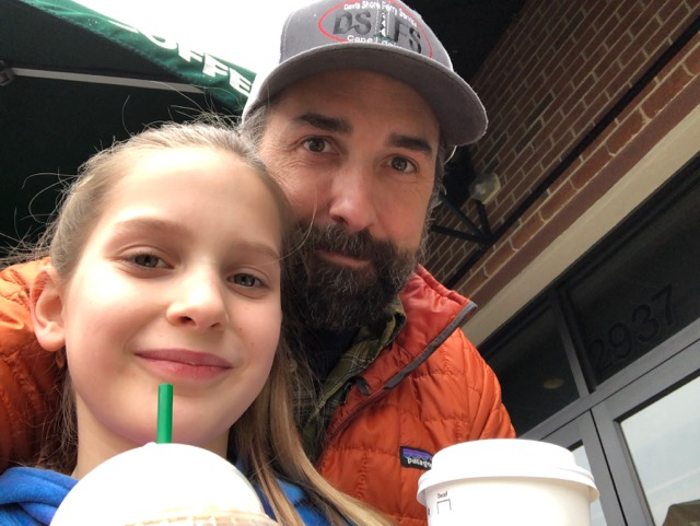 Random pictures of my daughter and I having coffee, because I didn't have a picture that fit the theme of this post.  She doesn't like cheesy or sleazy either.