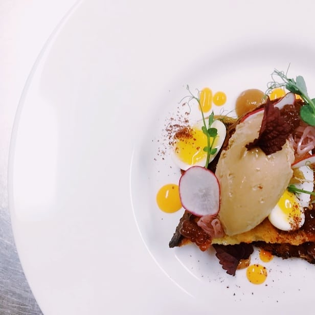 Duck liver mouse.  Cinnamon toast, quail egg, pomegranate, sea buckthorn.  #fireinourhearts