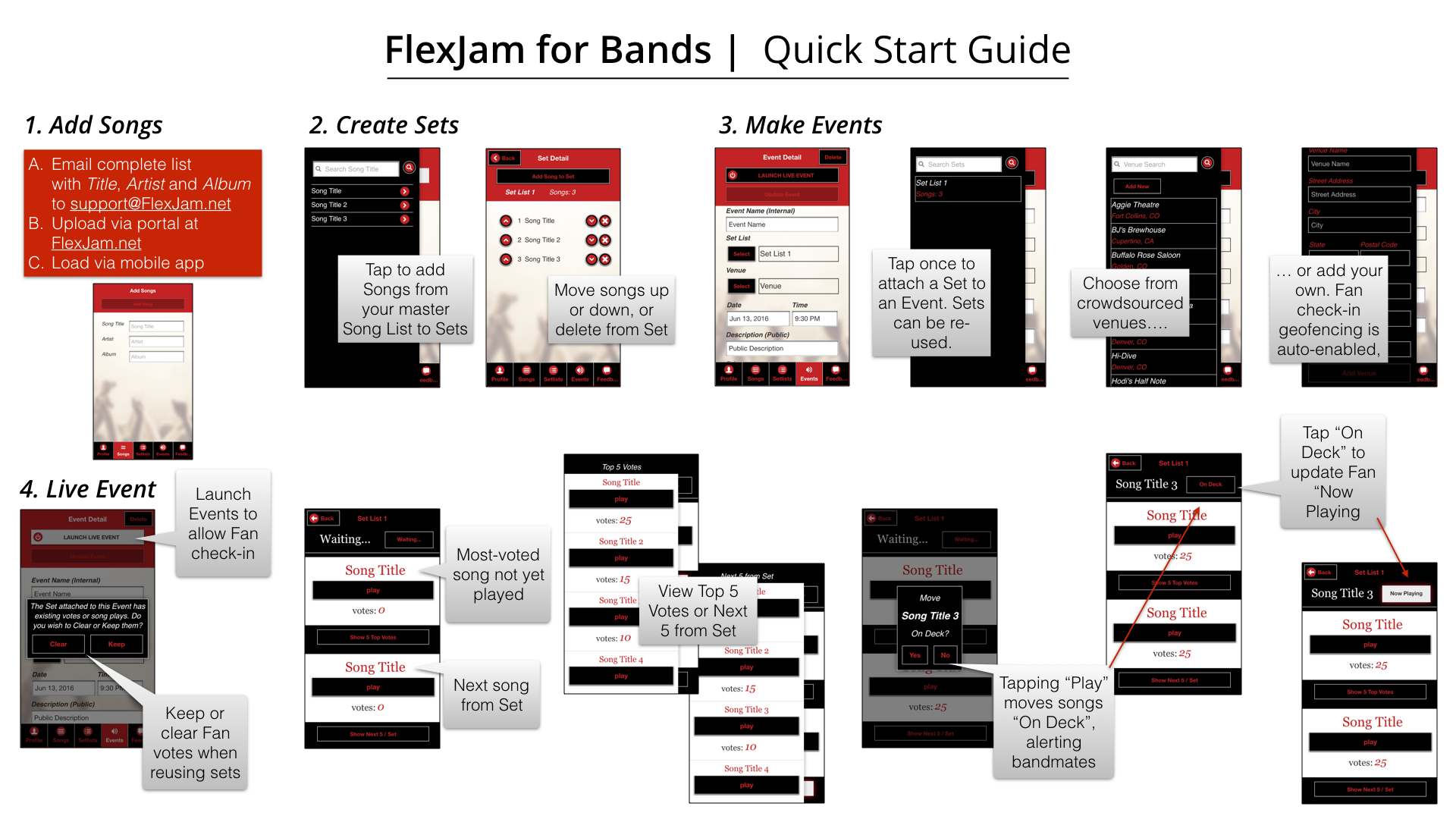 Getting started quick guide for FlexJam for Bands
