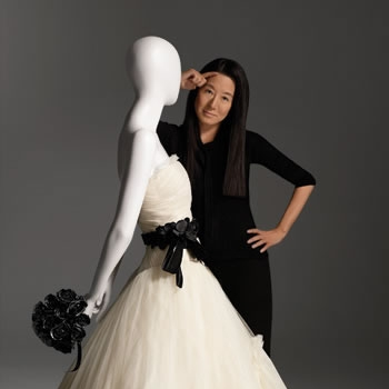 Vera Wang with one of her bridal designs
