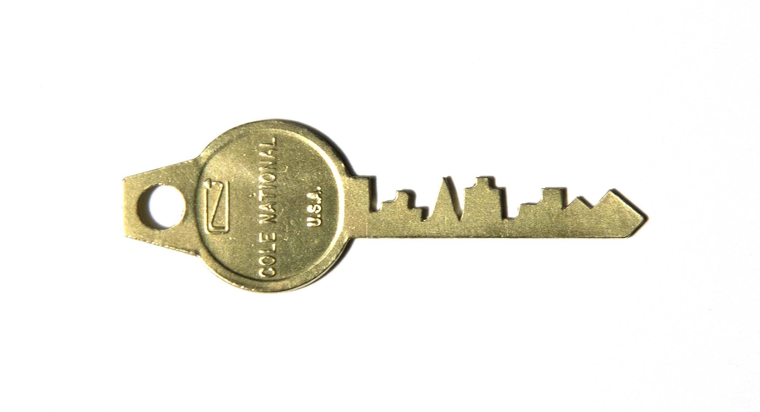 """Key to the City, 2014, brass, 1 x 2.5"""""""