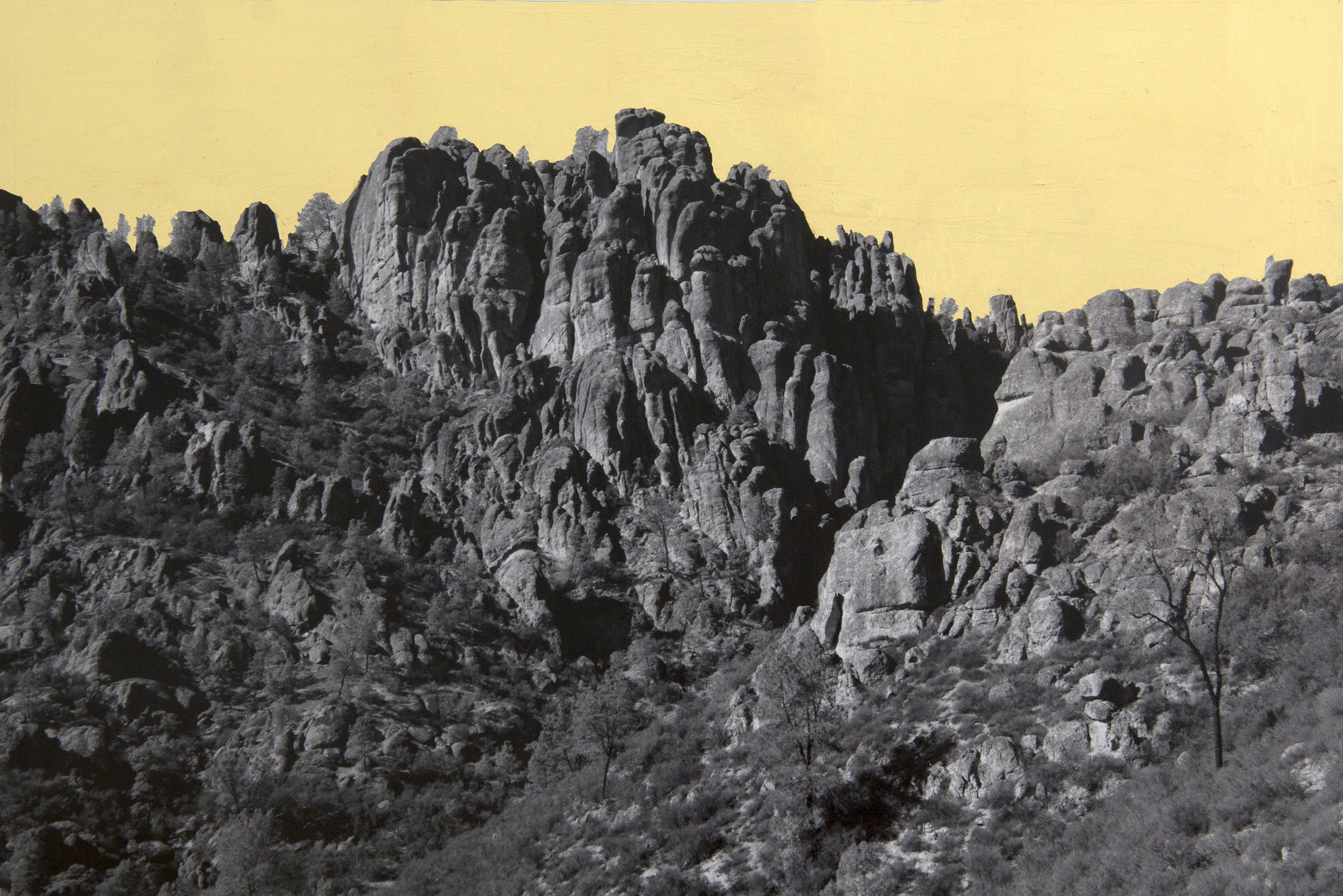 Formation, Pinnacles, CA, 2013, digital pigment print with 22K gold leaf