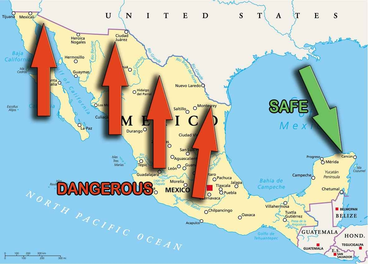 """Notice in the picture,the """"dangerous"""" arrows are pointed to the states at the border with the United States.Drugs are a very profitable industry. Business 101: supply and demand."""