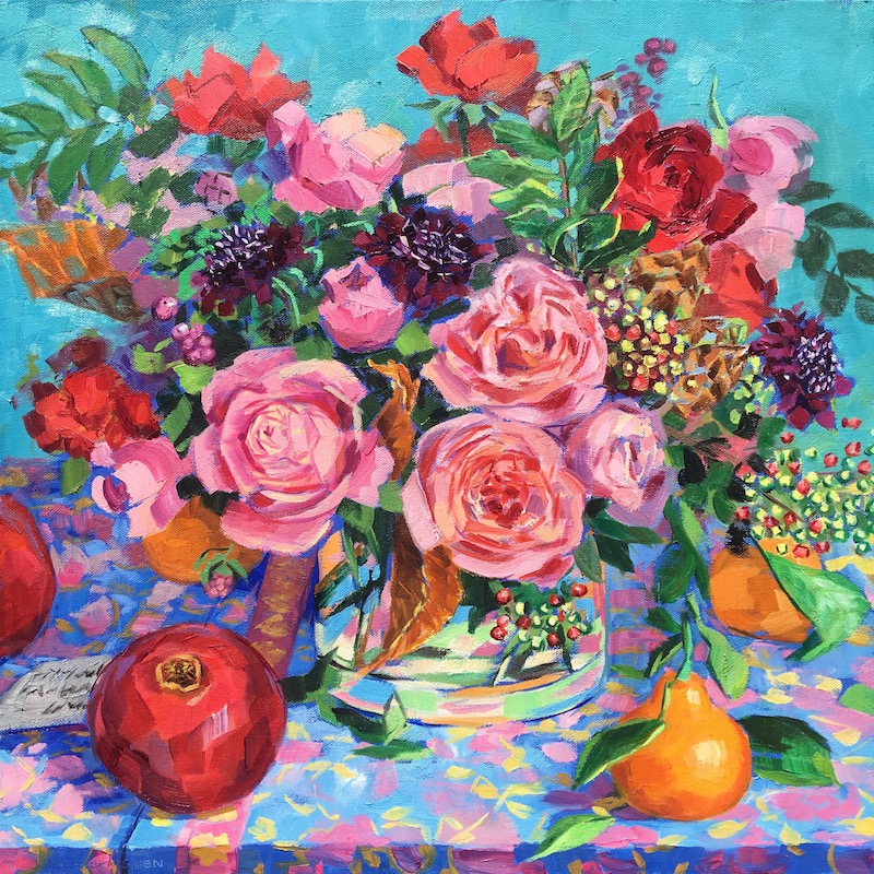 """Linda's latest acquisition, 20""""x20"""" oil on canvas. One of my paintings from a  Juniper Blue Studio  bouquet."""