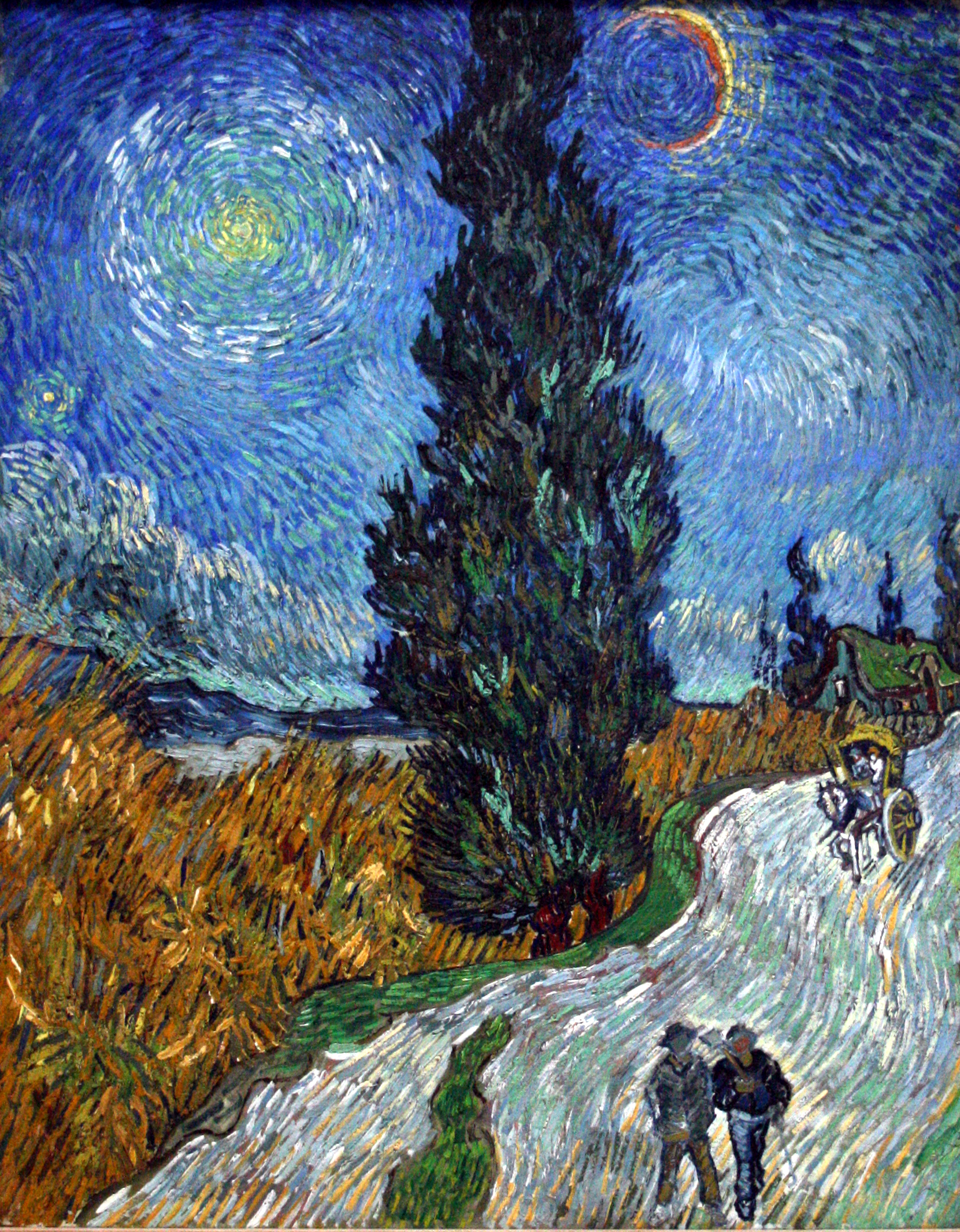 Road With Cypress and Star . From the catalog for  Van Gogh in Saint-Réme and Auvers , a show at the Metropolitan Museum of Art in NYC
