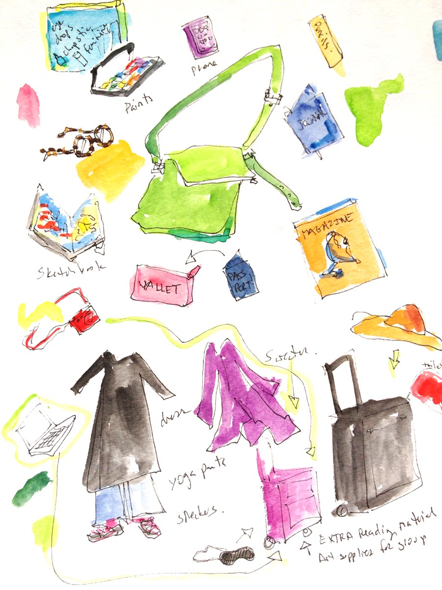 A sketch I made of my things before setting off with Elizabeth to Morocco in 2012.