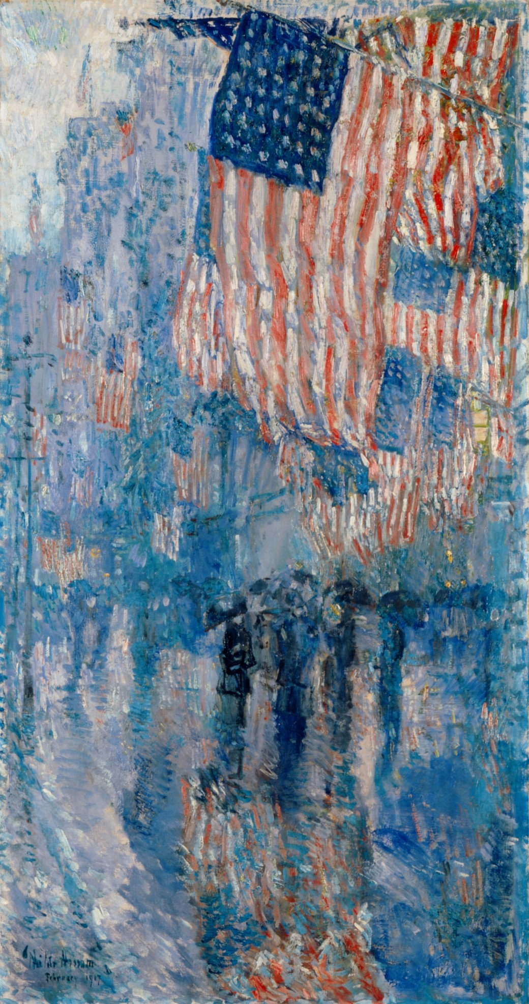 Boston-born artist, Childe Hassam,  Fifth Avenue in the Rain , hanging in the White House since 1963. Linda's daughter noticed his work while traveling in Europe.