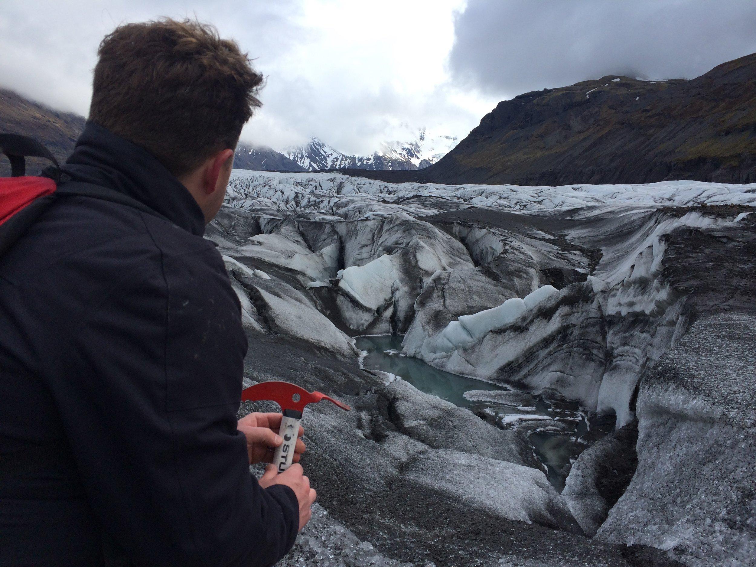 Jack on the glacier Svínafellsjökull. Manly.