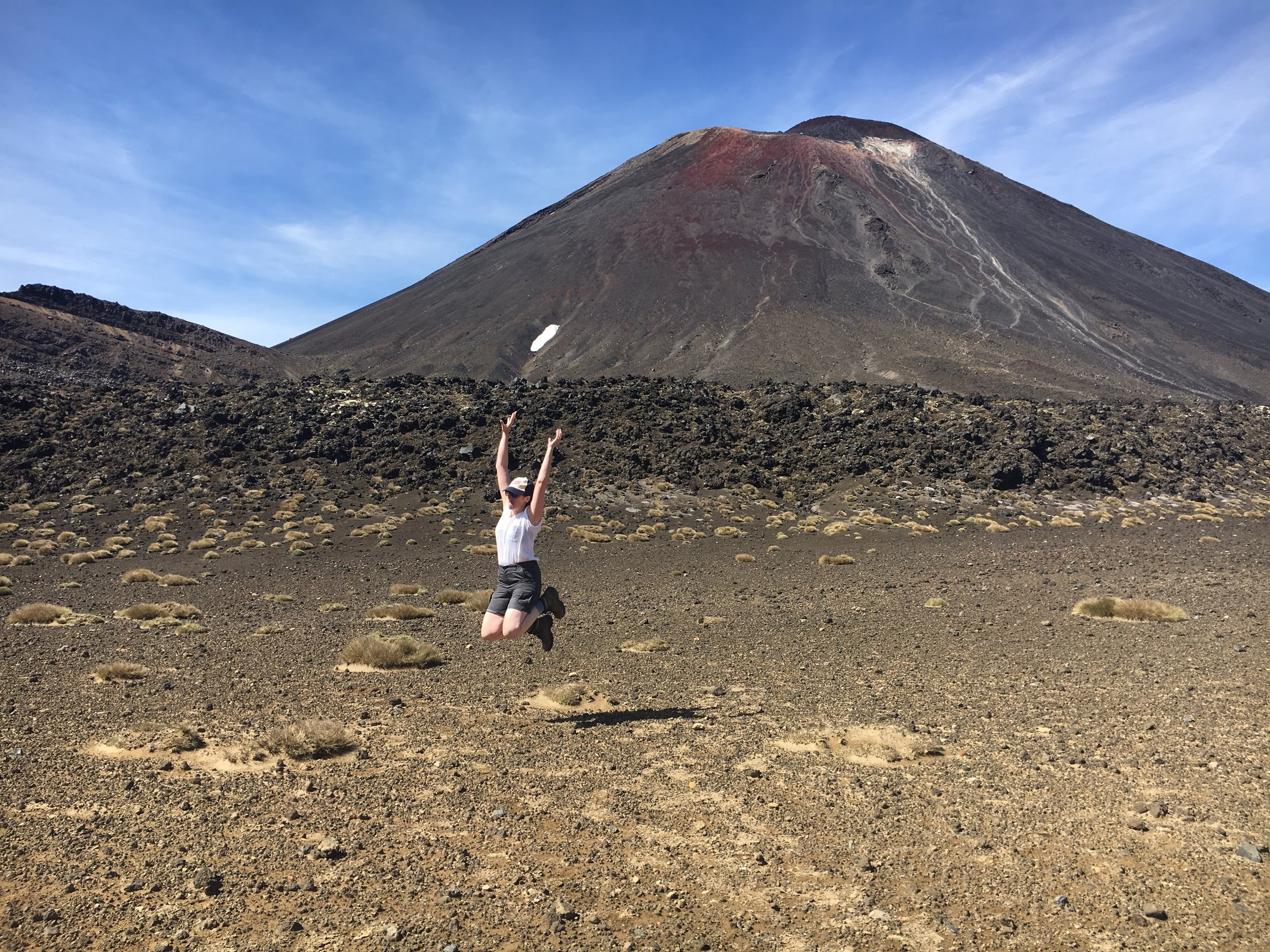 Jumping while I can still move my legs on the epic Tongariro Alpine Crossing.