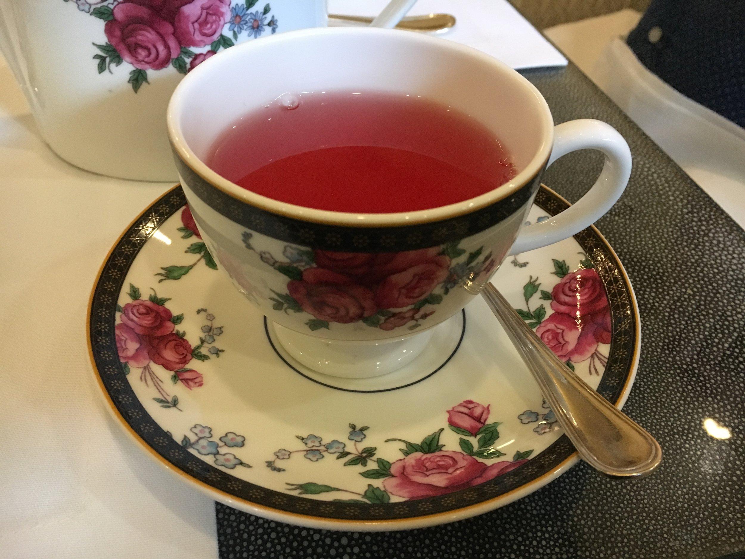 Pretty tea in a pretty cup at the pretty Langham Hotel.