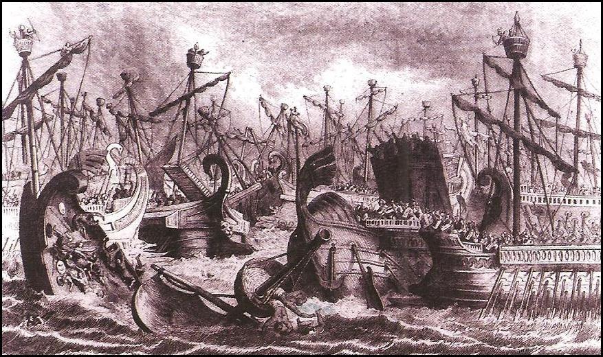 Representación renacentista de una batalla naval durante la Primera Guerra Púnica.