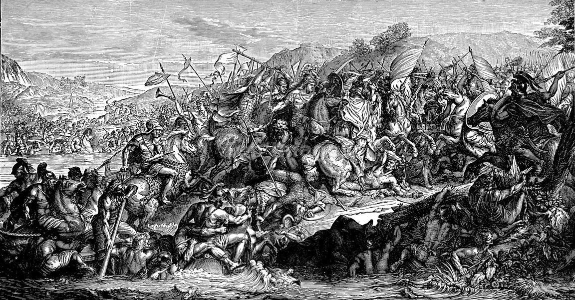 Alejandro Magno luchando en la batalla de río Gránico.