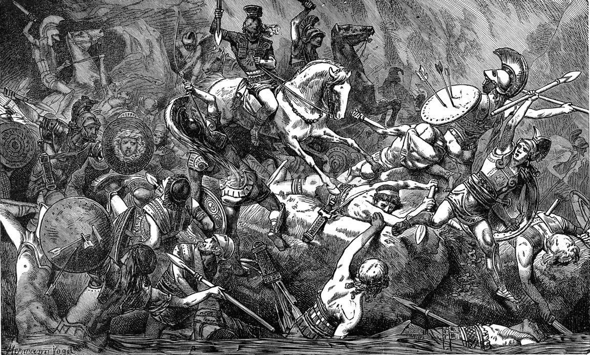 Ilustración de una batalla anónima en la confrontación entre ciudades-estado griegas durante la Guerra del Peloponeso.