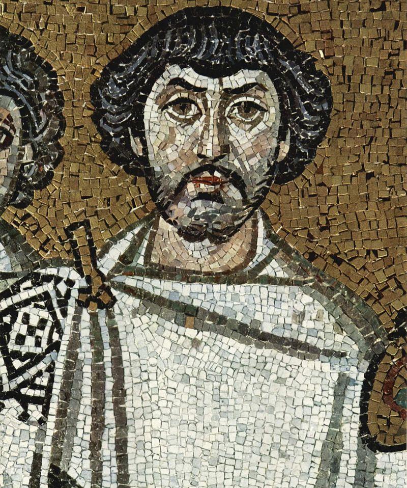 Flavio Belisario en un mosaico de la catedral de Ravena, en el norte de Italia.