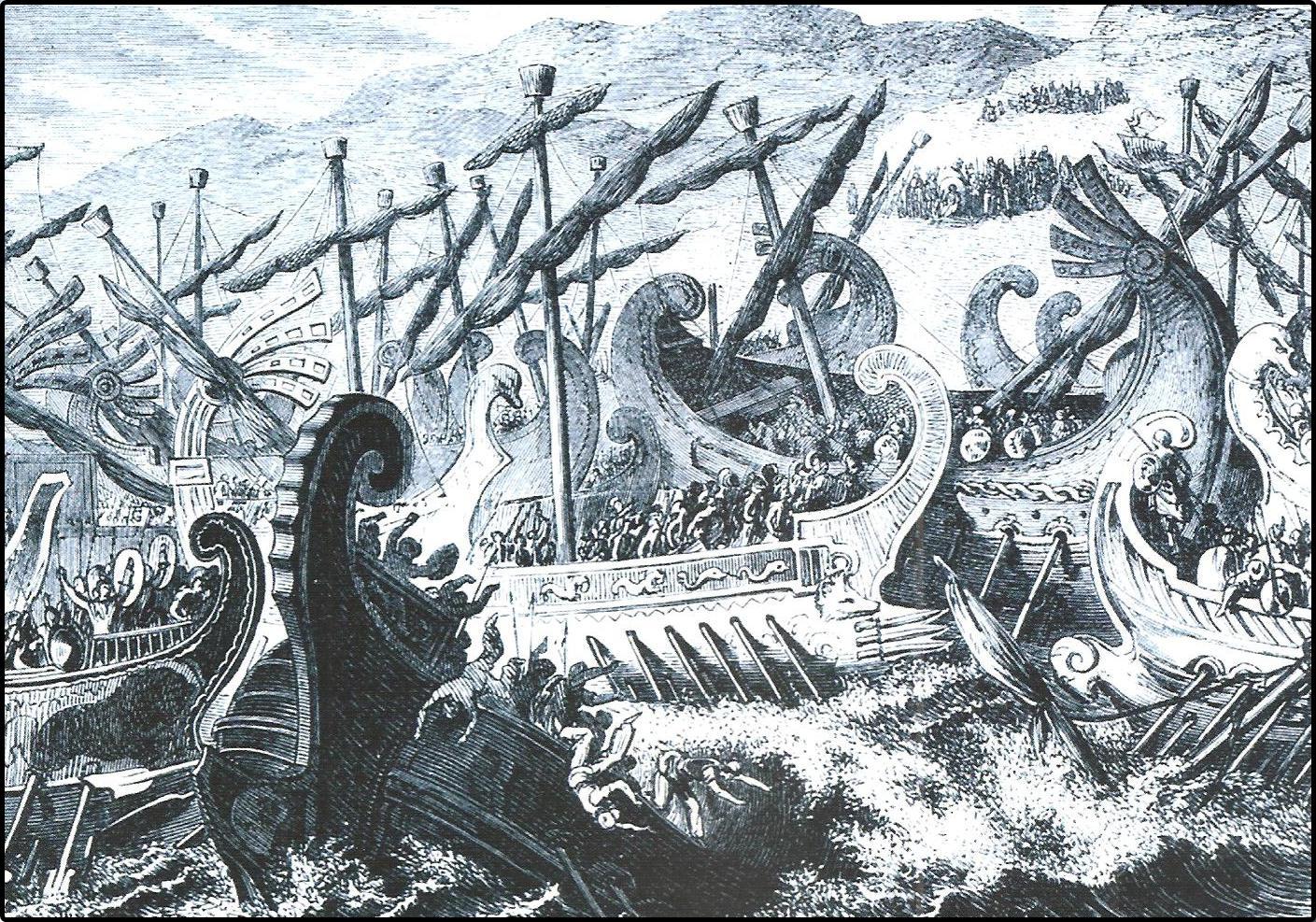 Ilustración de la batalla naval de Salamina, 480 a.c.