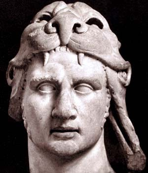 Mitrídates, gran enemigo de Roma, llevando una piel de león a la manera de Hércules.