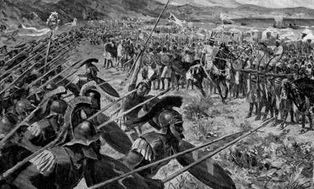 Ilustración de la carga de los atenienses en la batalla de Maratón.