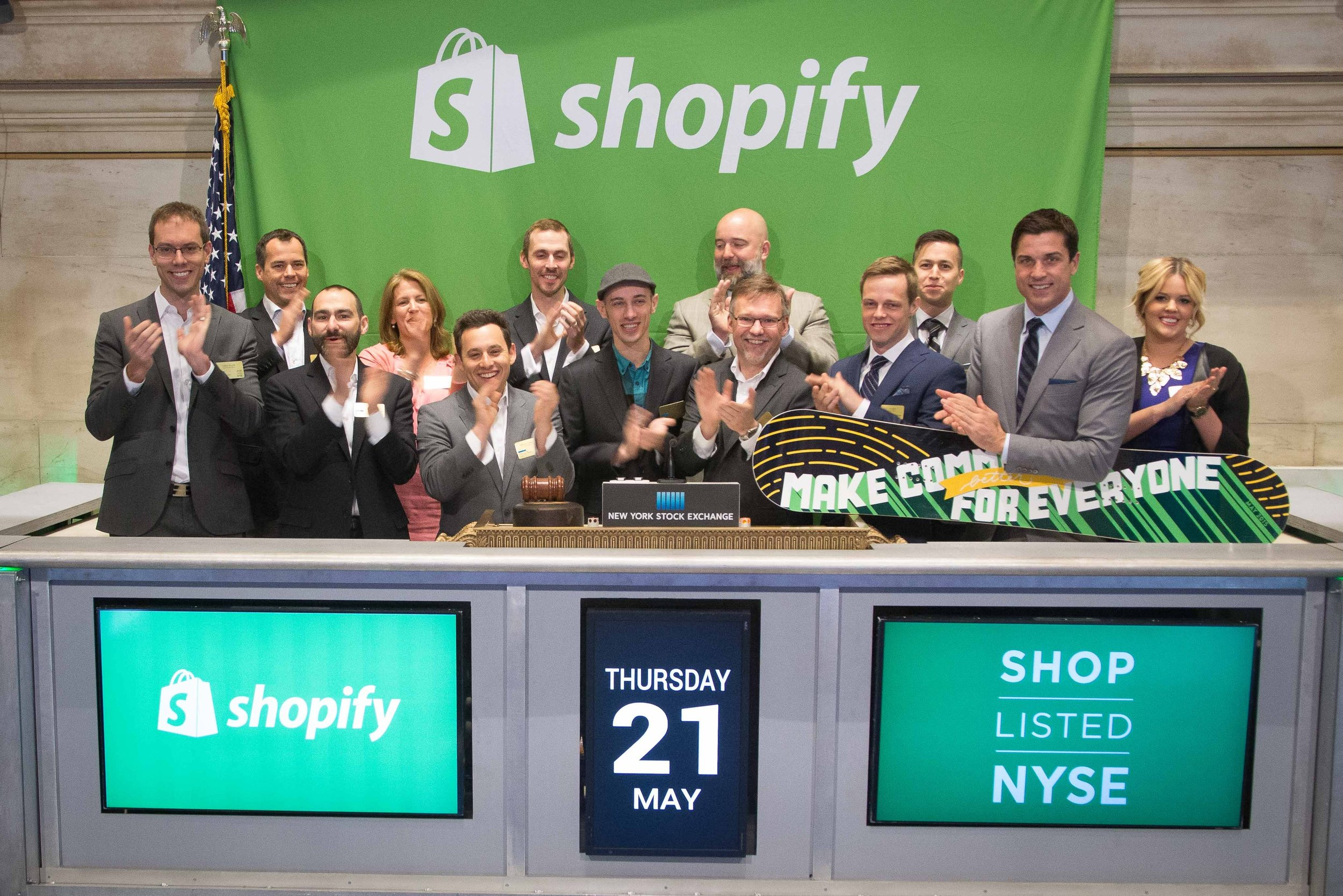 Shopify Inc. CEO and founder Tobi Lutke, along with company executives, rings the NYSE Opening Bell(R) in celebration of Shopify's IPO (Photo: Business Wire)