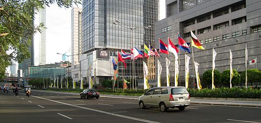 The flags of ASEAN nations raised in MH Thamrin Avenue, right in front of Japanese Embassy in Jakarta, Indonesia, during 18th ASEAN Summit, Jakarta, 8 May 2011.    Photo: By Gunawan Kartapranata (Own work) [CC BY-SA 3.0  ], via  Wikimedia Commons . Use of this photo is not endorsement from its creator.