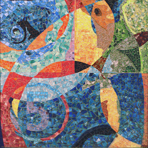 La Race - Mosaic mural composed of glass fragments and hand mixed colored sand.Framed in 2