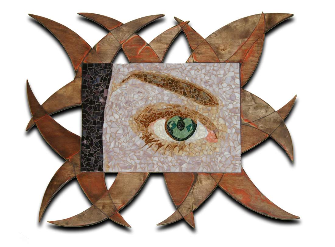 9:31 AM - Glass mosaic mural is composed of glass fragments and hand mixed colored sand.Frame created by hand from one piece of birchwood.