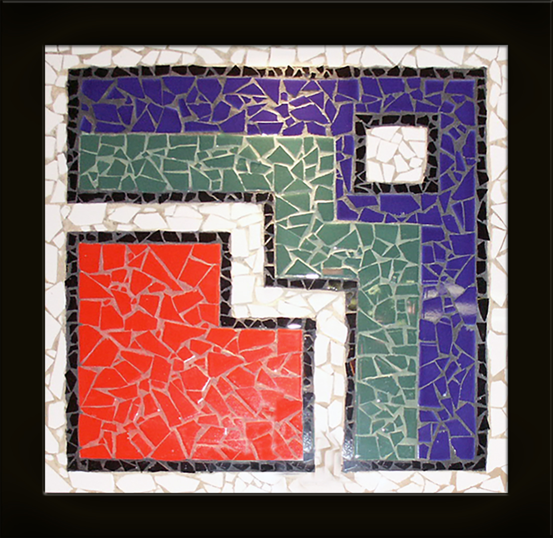 The African - Ceramic mosaic composed of fragments and hand mixed colored sand.Framed in 2