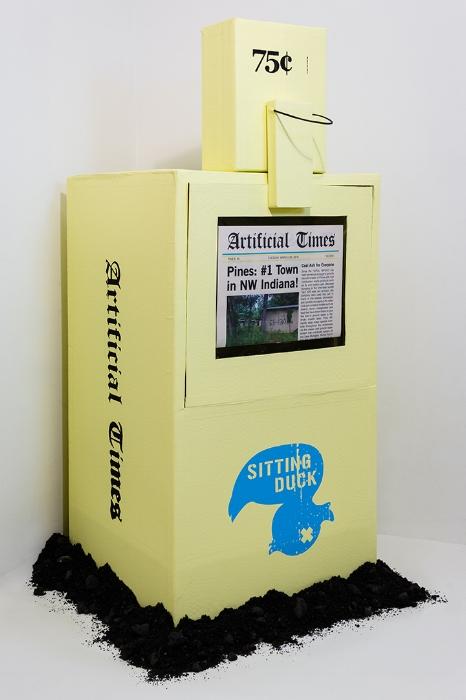 Artificial Times cardboard Newspaper Dispenser with coal ash