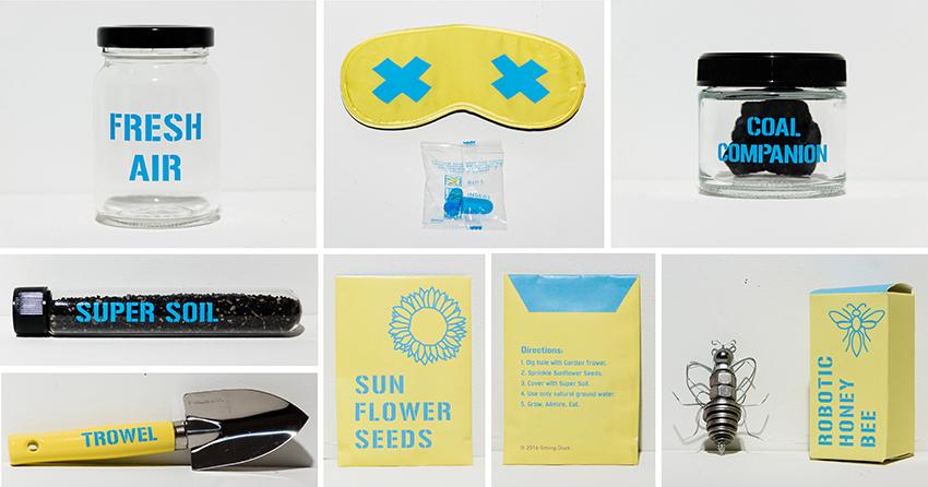 Jar of Fresh Air, Eye Mask & Ear Plugs, Coal Companion, Vile of Super Soil, Garden Trowel, Packet of Sunflower Seeds, Robotic Honey Bee
