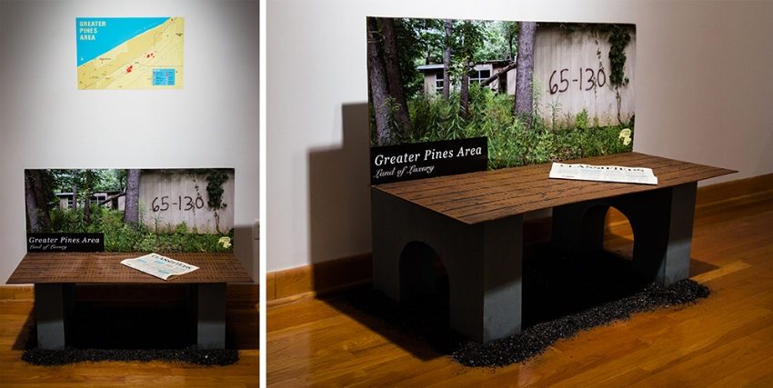 Cardboard Bench Advertisement with coal ash