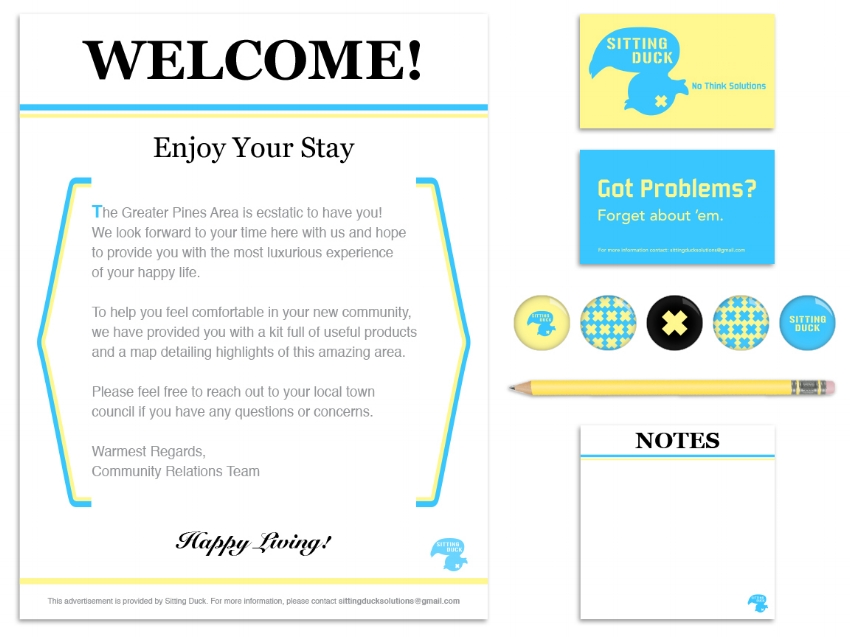 Greater Pines Area Welcome Letter, Sitting Duck Business Cards, Buttons, and Notepad