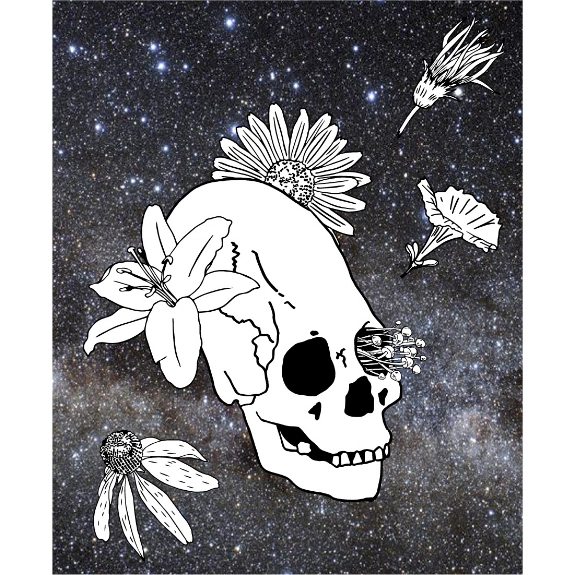 27/100: So I've been thinking a lot lately about printing some funky weird apparel... I mean, who wouldn't want strange elongated skulls with flowers and fungi on their shirt? Am I right?