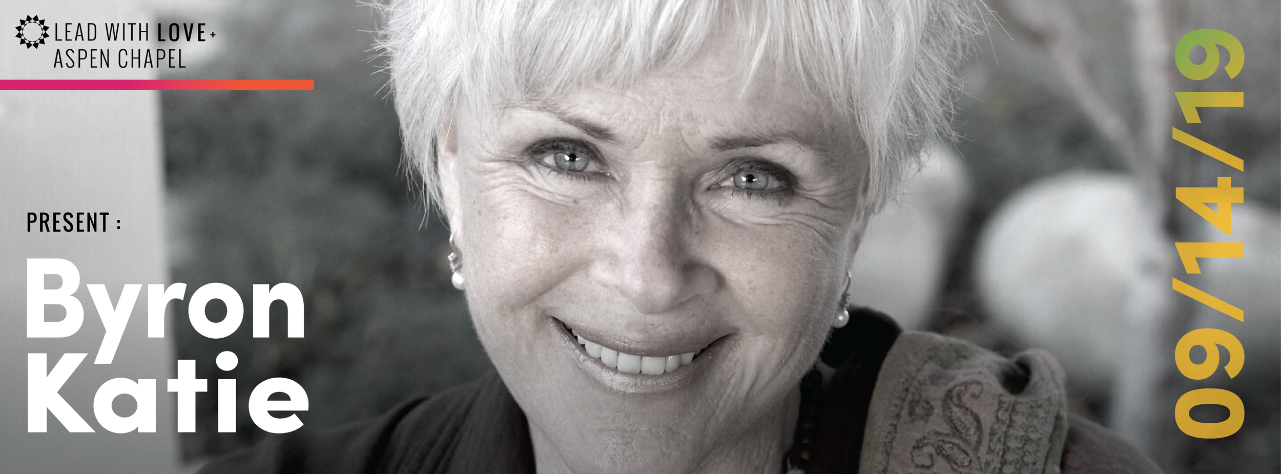 "Best-Selling Author and Speaker Byron Katie is the founder of The Work and will be joining us in Aspen Sept 14th and 15th as part of our  ""Aspen Retreat"" . We are so BLESSED to have her!"