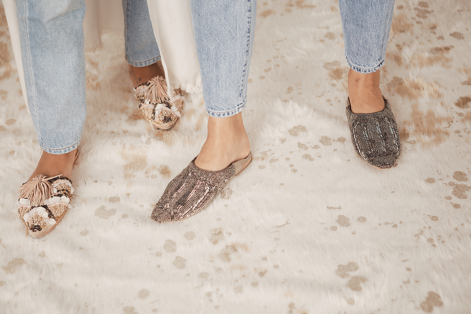 Stella and Alli in our  embellished room slide  and  glassy deco babouche