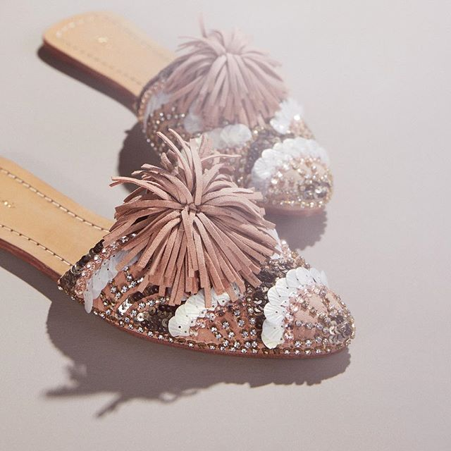 our embellished slides make us so proud. we have sold over 400 pairs of this shoe independently,  produced it in 3 different factories until we found just the right one, and each time we reorder we improve it more. this style has been worn with everything from vintage levis to wedding dresses. did i mention they are EMBELLISHED BY HAND and made from genuine suede & leather? we couldn't love this shoe more ❤️ shop the best restock yet, now online! #mindfullymade #femalefoundedbusiness #madeinindia
