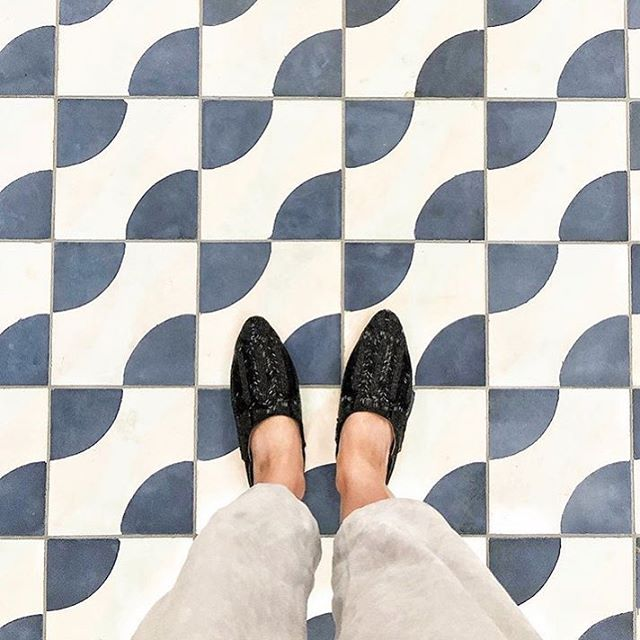 @melnunez has a thing with floors, and our glassy deco babouche // @the.wing
