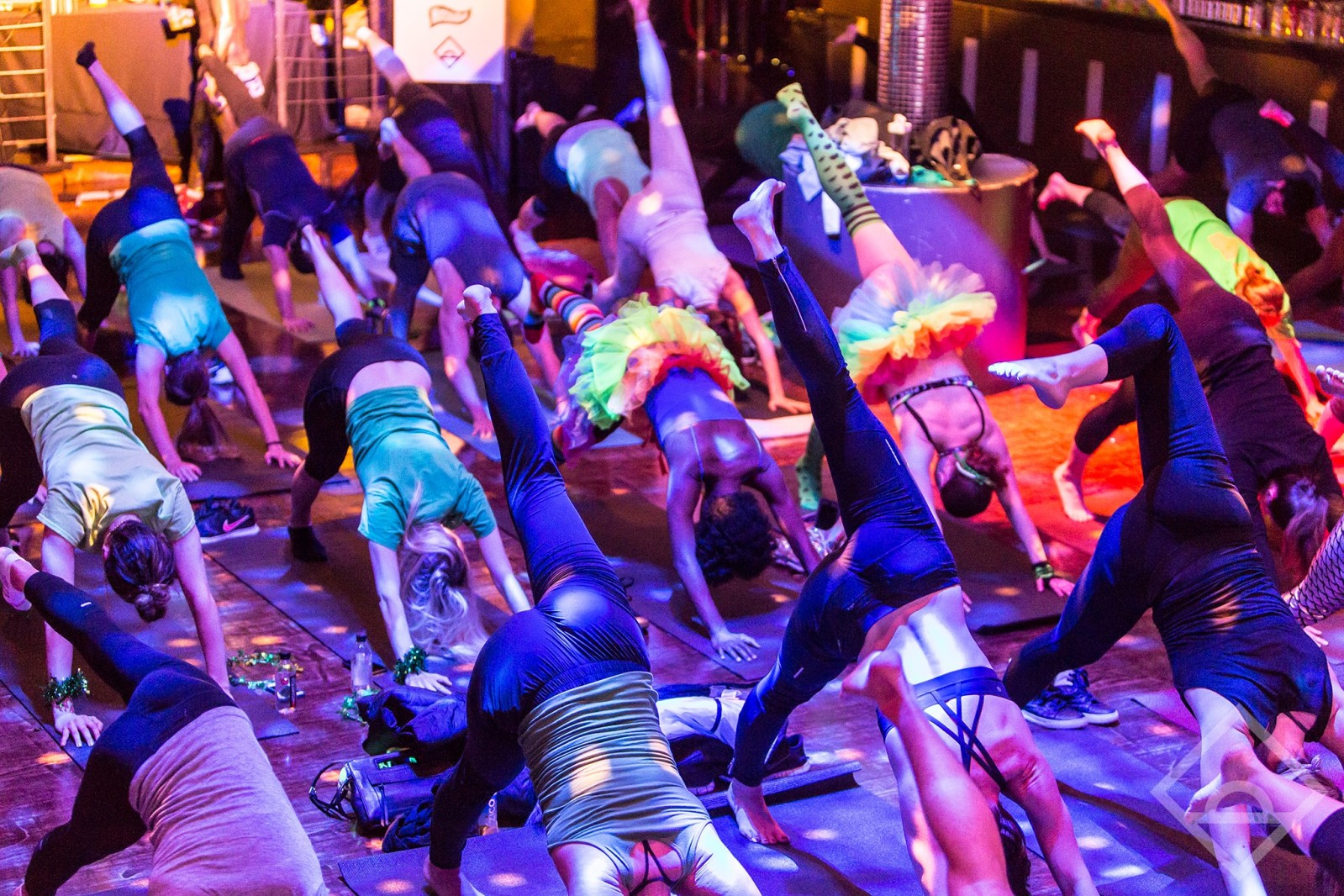 A Daybreaker event, where the pregame is an hour of yoga, at 6AM... Image via Daybreaker.