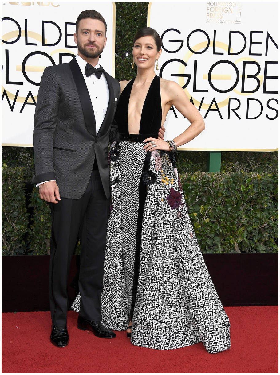 Justin Timberlake, wearing Tom Ford, with Jessica Biel, wearing Elie Saab Haute Couture.