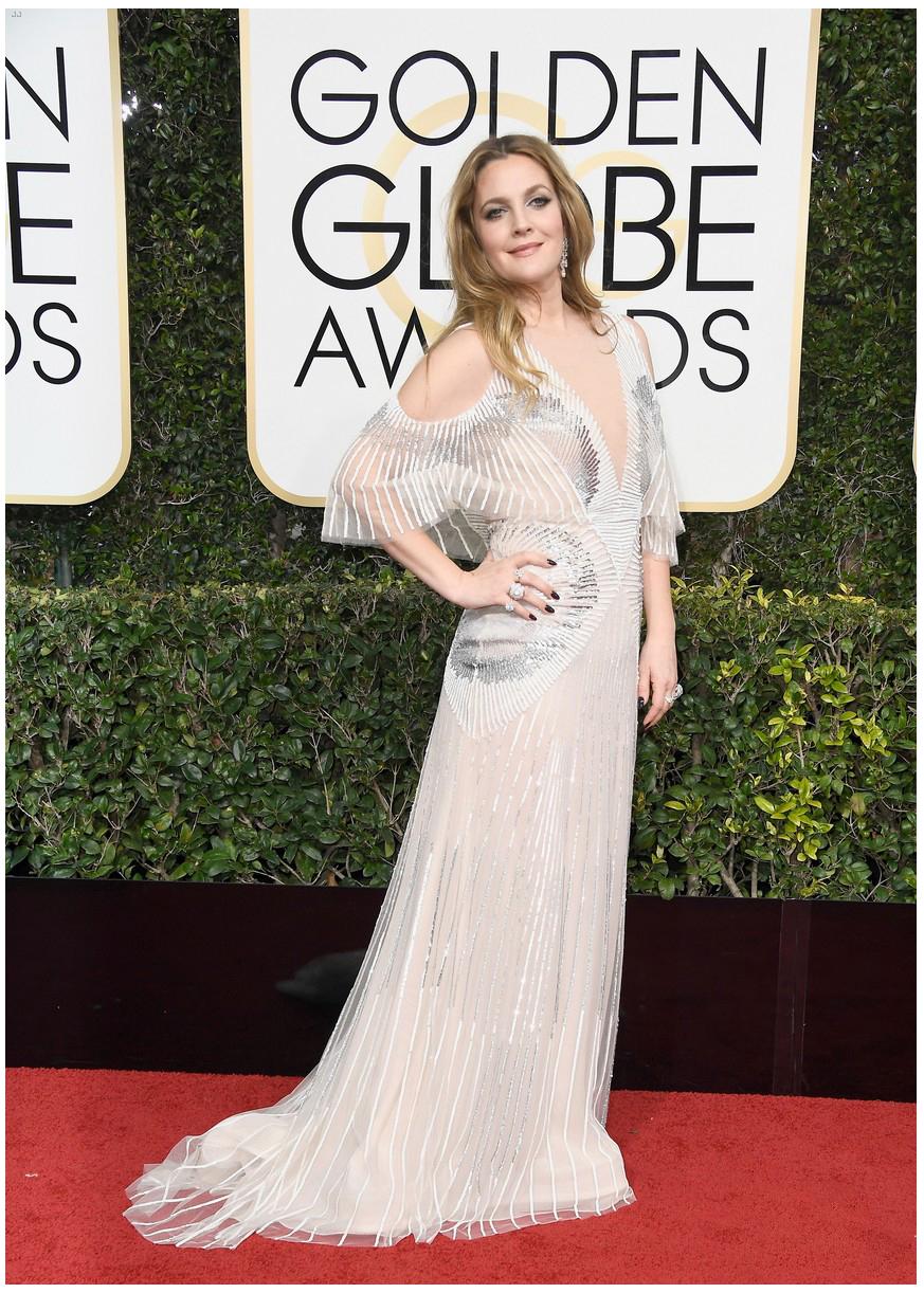 Drew Barrymore wearing Monique Lhullier.