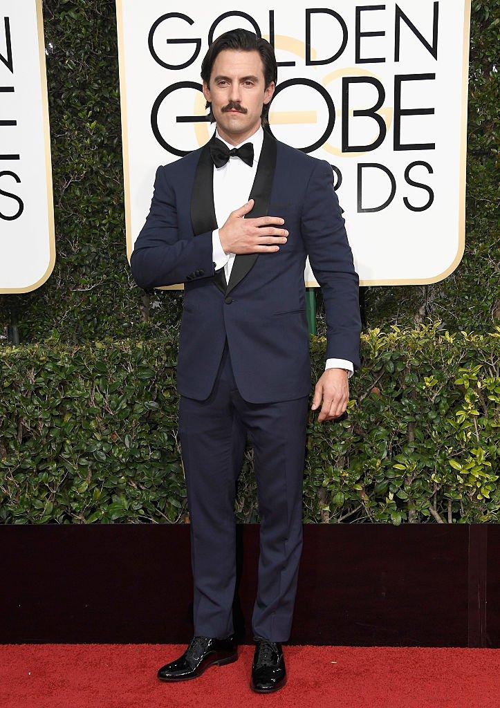 Milo Ventimiglia wearing Ralph Lauren.