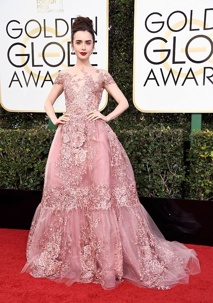 Lily Collins wearing Zuhair Murad.