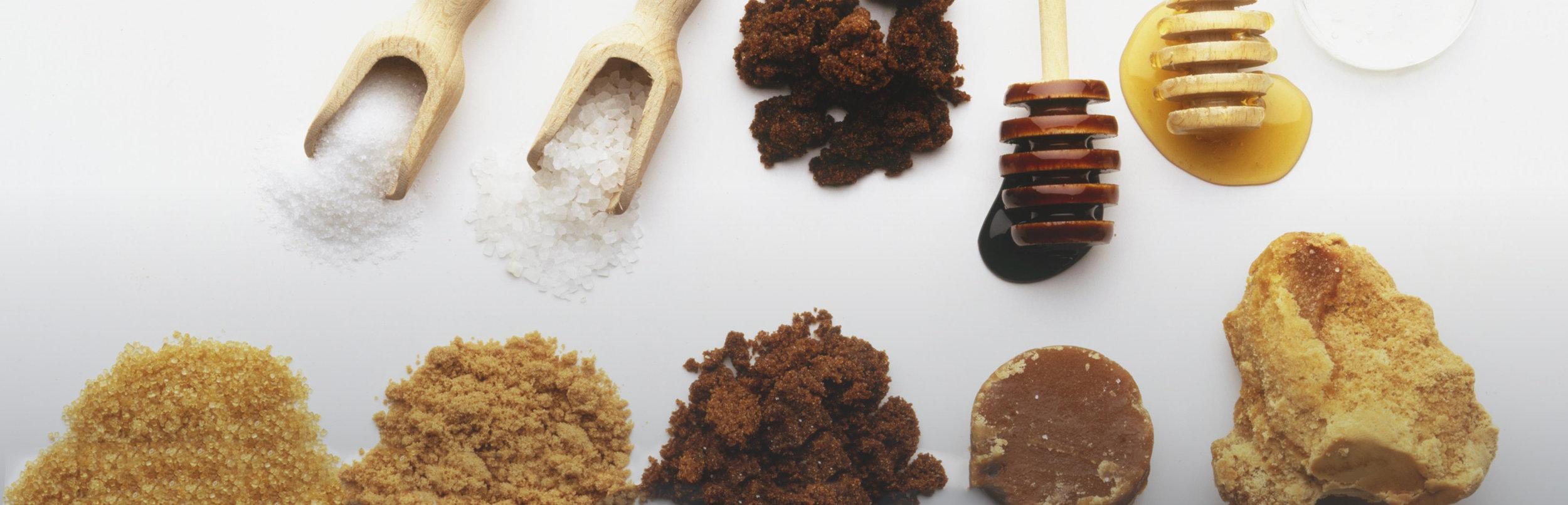 Stevia // coconut sugar // raw cane sugar // agave // brown sugar // white sugar // sweeteners.Image via Furthermore from Equinox.