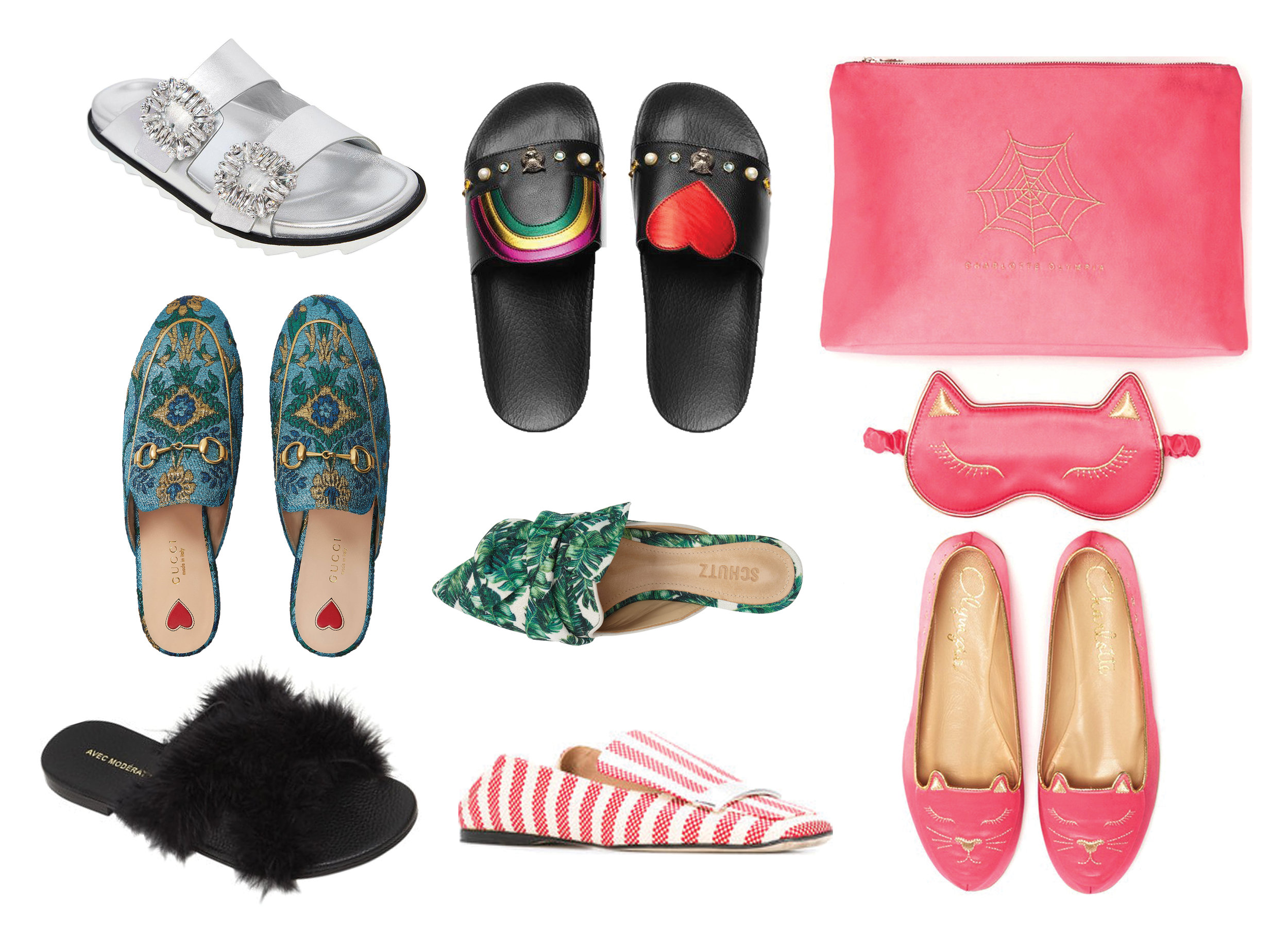 From upper left to right, Roger Vivier Viv Metallic Leather  Sandal  | Gucci Pursuit Heart & Rainbow Leather  Slides  | Charlotte Olympia Cat Nap  Set  | Gucci Princetown Brocade  Slippers  | Schutz D'ana  Slide  | Avec Modération St. Tropez Marabou  Sandal  | Sergio Rossi Striped  Slipper