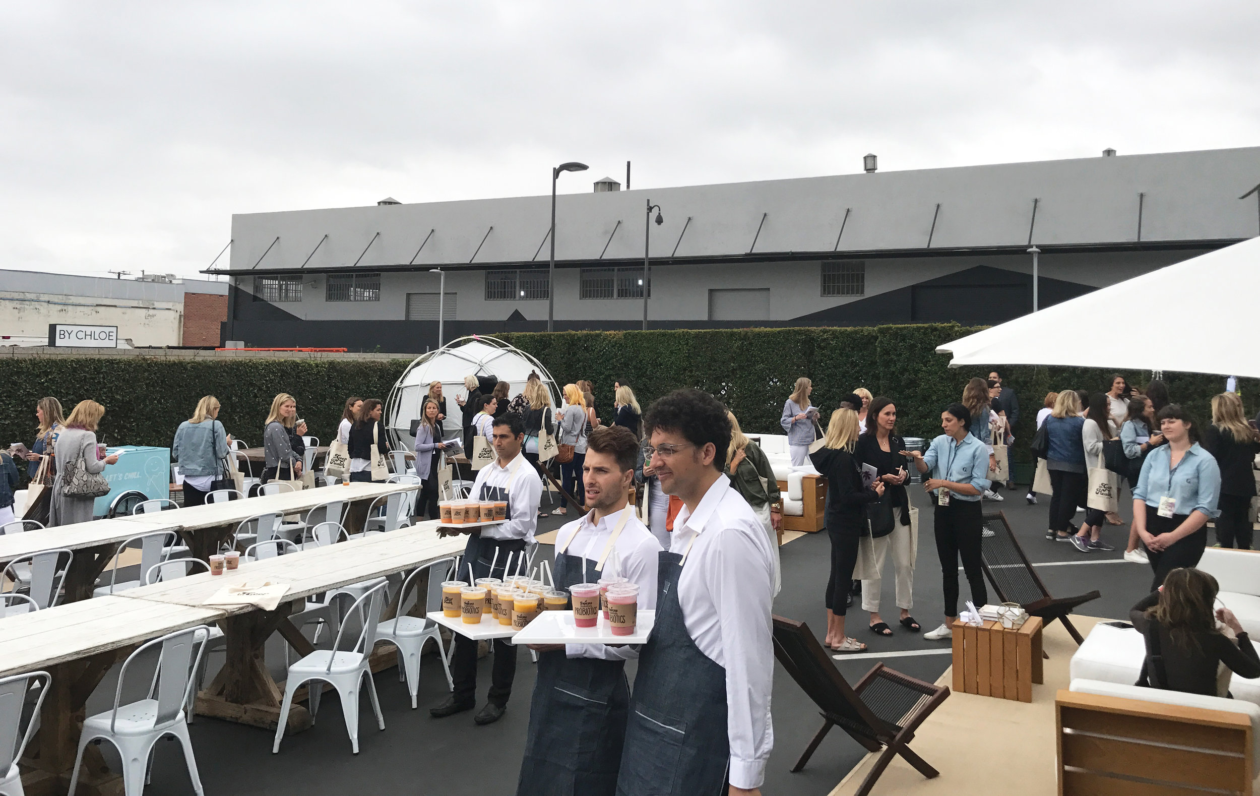 Goop's very own Oompa Loompas serving magical concoctions in 3Labs' outdoor space.