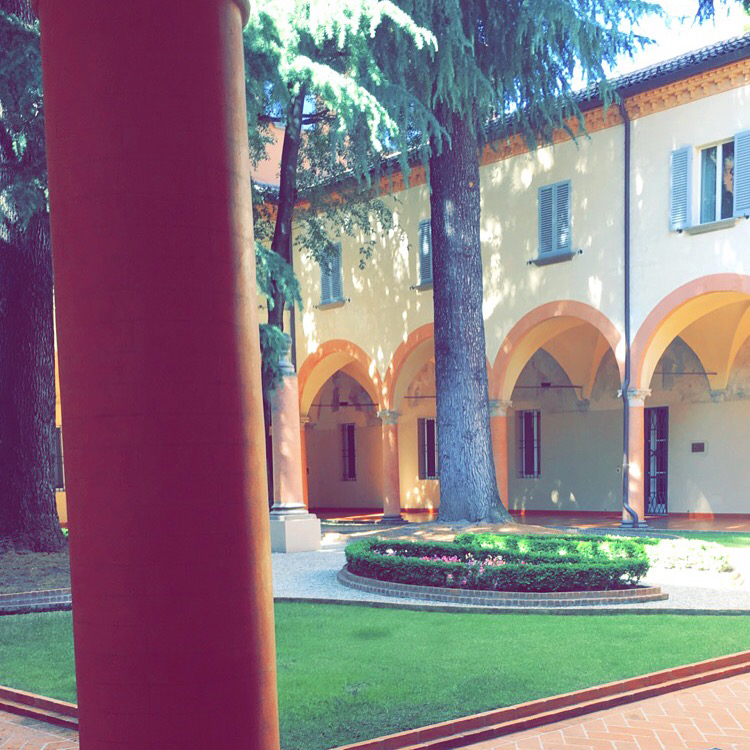 The architecture in Bologna is divine. This is the refined elegance of a building's courtyard.