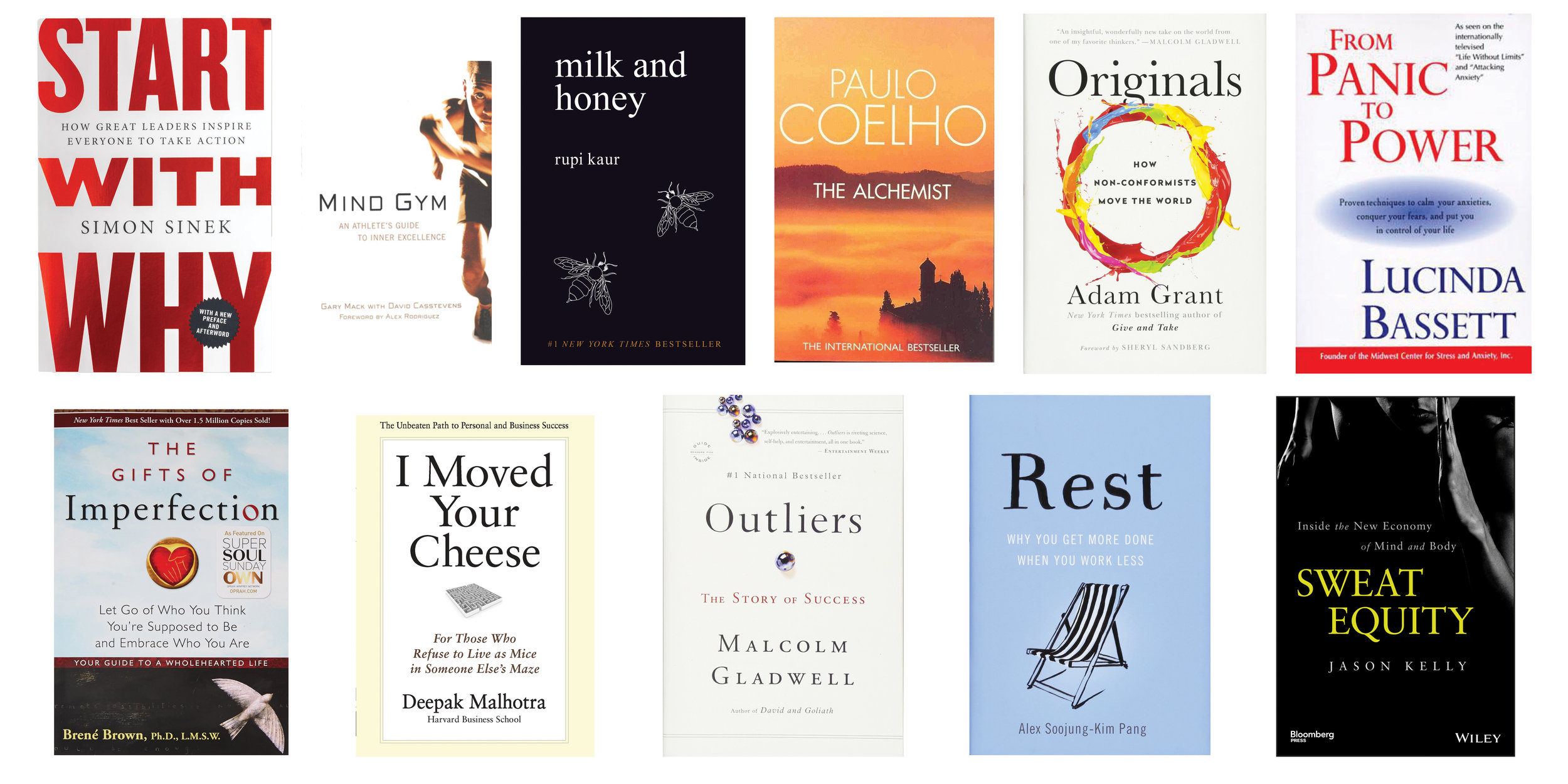 From upper left, across,  Start With Why  |  Mind Gym  |  Milk & Honey  |  The Alchemist  |  Originals  |  From Panic to Power  |  The Gifts of Imperfection  |  I Moved Your Cheese  |  Outliers  |  Rest  |  A Mind of Your Own