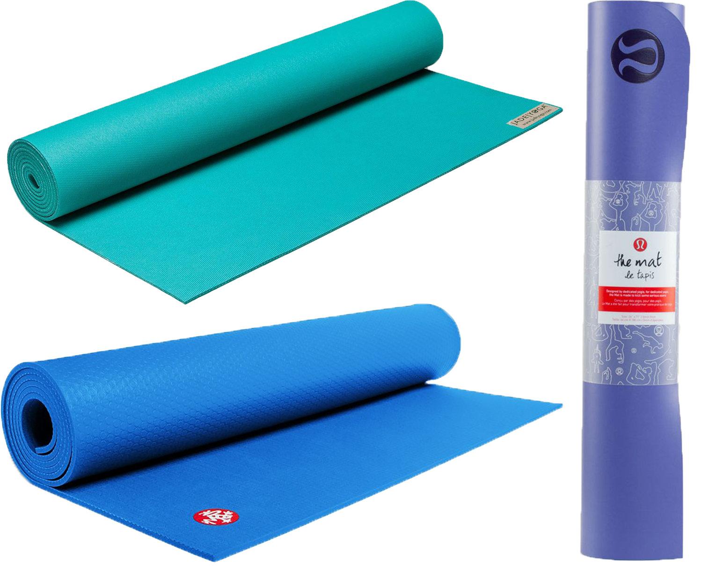 JadeYoga Harmony Mat, Manduka Pro Mat, and Lululemon The Reversible Mat. As featured in  The ALB Standard's Sore Mine, Sore Body .